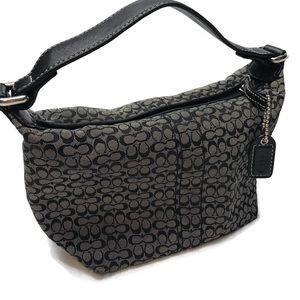 Small Coach bag cosmetics signature fabric key fob